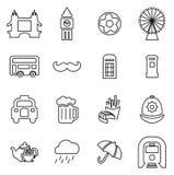 London-Stadt-u. -kultur-Ikonen verdünnen Linie Vektor-Illustrations-Satz lizenzfreie abbildung