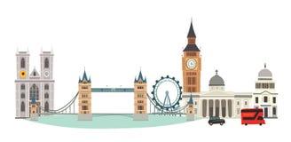 London-Stadtbild-Vektor-Illustration Skyline Karikatur-Vereinigten Königreichs stockfotos