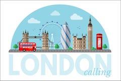 London-Stadtbildvektor clipart mit Beschriftung lizenzfreie abbildung