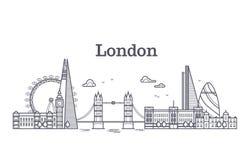 London-Stadtskyline mit berühmten Gebäuden, Tourismusengland-Marksteine umreißen Vektorillustration Lizenzfreie Stockbilder