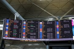London Stansted Airport, August 2018, flight schedule stock photography