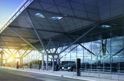 LONDON STANSTED AIRPORT, UK - MARCH 23, 2014: Airport building in sun rise Stock Image