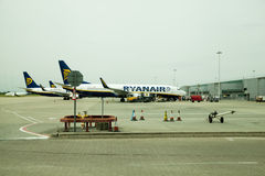 LONDON, STANSTED AIRPORT, UK - MAY 26, 2014: Stansted airport, Ryanair aircraft getting ready to depart Stock Photography