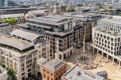 London stock exchange. Building at Paternoster Square next to St Paul& x27;s Cathedral in the City of London, England royalty free stock image