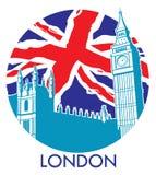 London stora ben med flaggabakgrund för facklig stålar Royaltyfri Bild