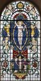 LONDON STORBRITANNIEN - SEPTEMBER 14, 2017: Den återuppväckte Jesus Christ på målat glass i kyrkaSt Lawrence Jewry Royaltyfria Foton