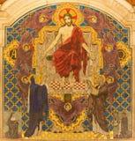 LONDON STORBRITANNIEN - SEPTEMBER 17, 2017: Den tyled mosaiken av Jesus Christ Pantokratoren i den Westminster domkyrkan Royaltyfri Bild