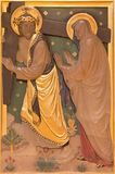LONDON STORBRITANNIEN - SEPTEMBER 17, 2017: Det Jesus mötet hans moder som stationen av korset i kyrka av St James Arkivbilder