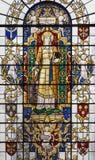 LONDON STORBRITANNIEN - SEPTEMBER 14, 2017: St Katherine av Alexandria på målat glass i kyrkaSt Lawrence Jewry Royaltyfri Foto