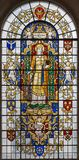 LONDON STORBRITANNIEN - SEPTEMBER 14, 2017: St Katherine av Alexandria på målat glass i kyrkaSt Lawrence Jewry Arkivfoton