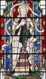 LONDON STORBRITANNIEN - SEPTEMBER 14, 2017: St Mary Magdalen på målat glass i kyrkaSt Lawrence Jewry Royaltyfria Foton