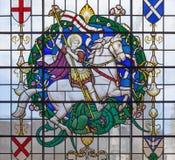 LONDON STORBRITANNIEN - SEPTEMBER 14, 2017: Stet George på målat glass i kyrkaSt Lawrence Jewry Royaltyfri Fotografi