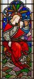 LONDON STORBRITANNIEN - SEPTEMBER 14, 2017: Undervisningen av Jesus på målat glass i kyrkaSten Michael Cornhill Royaltyfri Fotografi