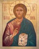 LONDON STORBRITANNIEN, 2017: Symbolen Jesus Christ som l?raren i kyrkaSt Andrew Holborn gjorde i broderskap av Jesus royaltyfri fotografi