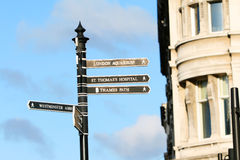 London street. Tourist attractions directions in London, England Stock Images
