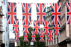 London street. Decorated with Briish flags during queen jubilee celebration Stock Photo