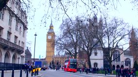 London street, Big Ben and bus stock footage