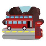 London street with bus scene. Vector illustration design stock illustration