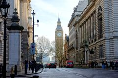 London Street. A busy street scene in central London with Big Ben in the distance Royalty Free Stock Images
