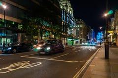 London street at night, England, UK.  stock photography