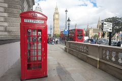London street, Phone boot and Big Ben Royalty Free Stock Photo