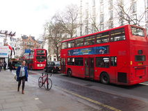 London street. Public transport in London , bus, pedestrian Royalty Free Stock Photography
