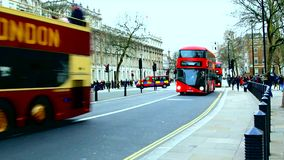 London street, red bus transport stock footage