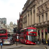London. Red buses in London street, Crowded street. Traffic jam. Piccadilly Circus. Victoria station Stock Photo