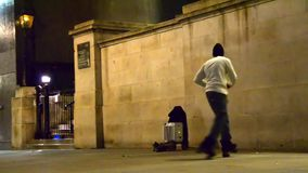 London street roller skate dancer at Trafalgar square stock video