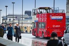 London street scene. Travelling in London by a double Decker, street scene Royalty Free Stock Photo