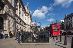 London Street Scene. LONDON, UK - OCTOBER, 2014:  London England street scene at Westminster Underground subway station Royalty Free Stock Photo