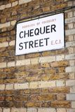 London street sign. Chequer Street - sign in Borough of Finsbury, London, UK stock images