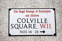 London Street Sign, COLVILEE SQUARE Stock Image