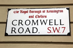 London Street Sign, Cromwell Road, Borough of Kensington and Chel Royalty Free Stock Photo