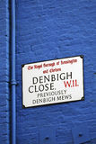 London Street Sign, DENBIGH CLOSE Stock Images