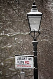 London Street Sign In The Snow Stock Images