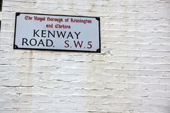 London Street Sign, Kenway Road, Borough of Kensington and Chels Stock Images
