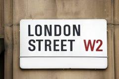 London Street Sign, LONDON STREET. Borough of Kensington and Chelsea Stock Image
