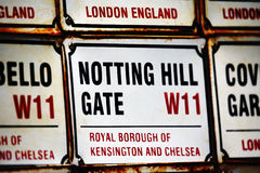 London Street Sign, NOTTING HILL GATE Royalty Free Stock Photos