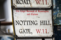 London Street Sign, NOTTING HILL GATE. Borough of Kensington and Chelsea Royalty Free Stock Photo