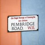 London Street Sign, PEMBRIDGE ROAD Royalty Free Stock Photography