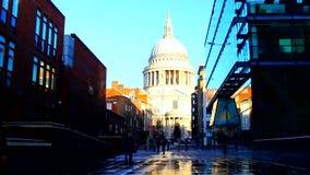 London street, St. Paul's Churchyard stock footage