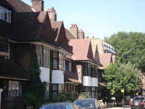 London street in summer in England Royalty Free Stock Photo
