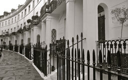 London street with terrrace housing Royalty Free Stock Photo