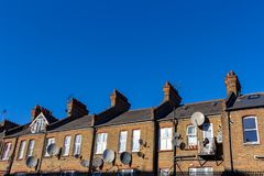 London street of typical small 19th century Victorian terraced houses stock image