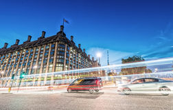 London streets at night with city traffic lights Royalty Free Stock Photos