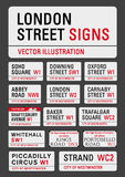London streets signs. APRIL 13, 2015: A vector illustration of the most famous London streets signs Royalty Free Stock Image
