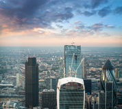 London. Stunning aerial view of modern financial district skyline at sunset.  stock images