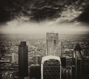 London. Stunning aerial view of modern financial district skylin Stock Images