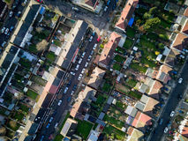 London suburbs, aerial view. Aerial drone photo looking down vertically onto the rooftops of a typical North London suburban district Royalty Free Stock Photo
